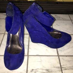 Brekelles Suede Royal Blue Wedges